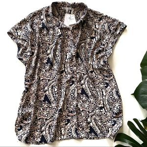 Nordstrom DR2 Paisley Print Navy, Pink Blouse! NWT